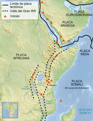 Esquema del Gran Valle del Rift