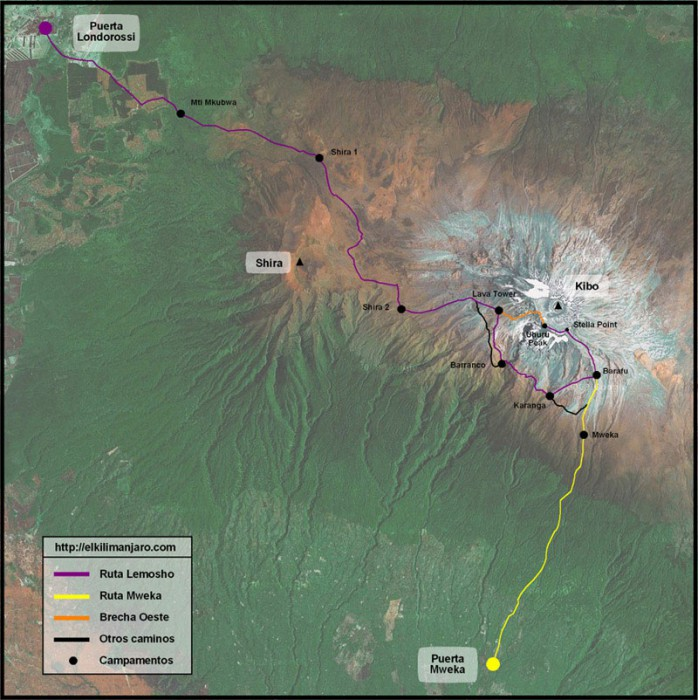 Mapa de la ruta Lemosho de ascensión al Kilimanjaro