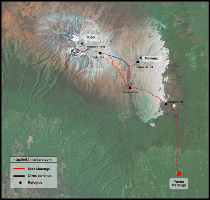 Mapa de la ruta Marangu de ascensión al Kilimanjaro