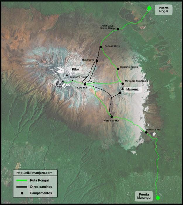 Mapa de la ruta Rongai de ascensión al Kilimanjaro