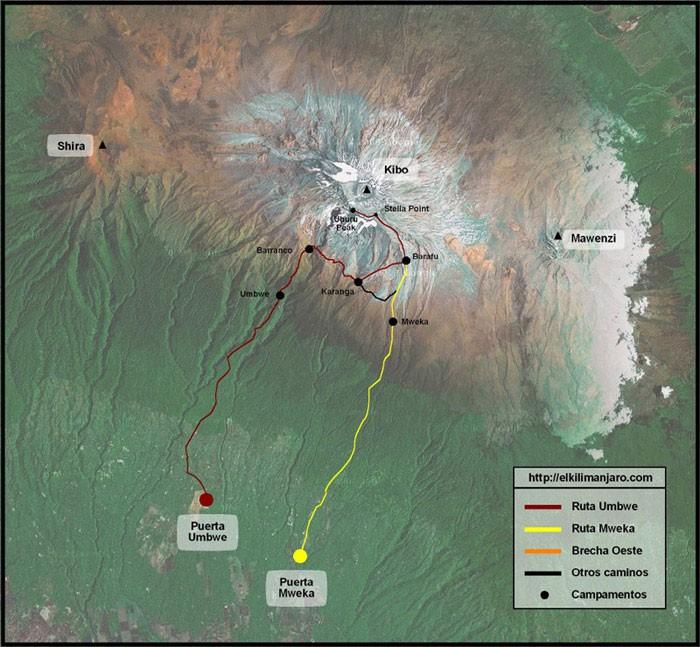 Mapa de la ruta Umbwe de ascensión al Kilimanjaro