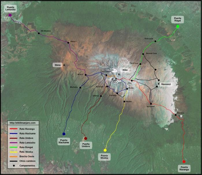 Mapa de las rutas al Kilimanjaro