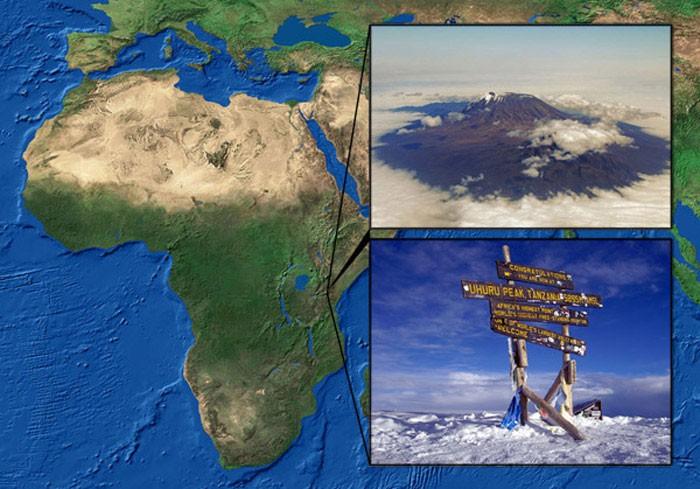 Mapa de ubicación del Monte Kilimanjaro