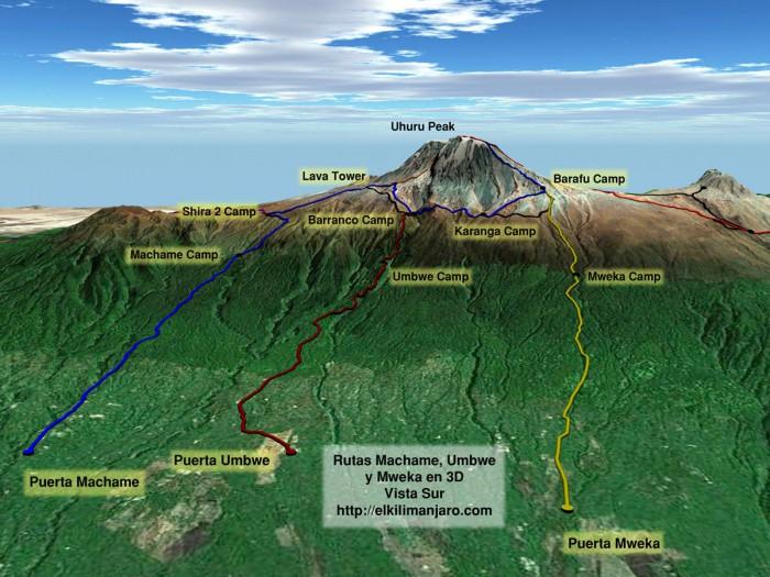 Vista 3D de la ruta Machame de ascensión al Kilimanjaro