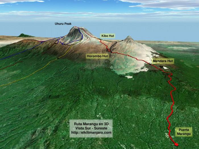Vista 3D de la ruta Marangu
