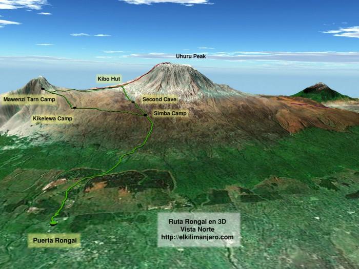 Vista 3D ruta Rongai de ascensión al Kilimanjaro